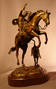 Cowboy Sculpture Posters - Cowboy roping a calf bronze sculpture titled LITTLE STINKER Poster by Kim Corpany