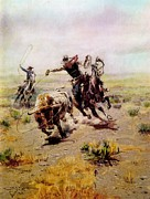 Charles Digital Art - Cowboy Roping A Steer by Charles Russell