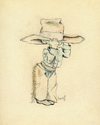 Hat Drawings Framed Prints - Cowboy Framed Print by Sam Sidders