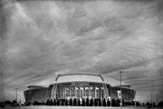 Superbowl Prints - Cowboy Stadium BW Print by Joan Carroll