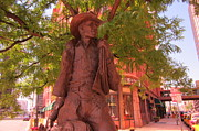 The Western Hotel Photos - Cowboy Statue in Front of the Brown Palace Hotel in Denver by John Malone