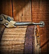 Roper Photos - Cowboy themed Wood Barrel and Spur by Paul Ward