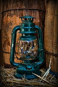 Leather Gloves Prints - Cowboy themed Wood Barrels and Lantern Print by Paul Ward