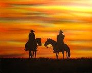 Cowboys Mixed Media - Cowboys At Sunset by Chris Fraser