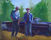 Chrissy Mount-kapp Painting Prints - Cowboys cars and heaters Print by The Vintage Painter