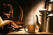 Authentic Photo Metal Prints - Cowboys Coffee Break Metal Print by Olivier Le Queinec