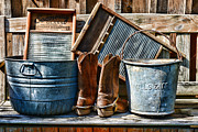 Washtub Prints - Cowboys Have Laundry Too Print by Paul Ward