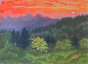 Smokey Mountains Pastels Framed Prints - Cowee North Carolina Sunset Framed Print by Denise  Cox