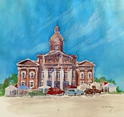 Blue Skys Framed Prints - Coweta County Courthouse Painting Framed Print by Sally Simon