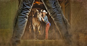 Blue Jeans Posters - Cowgirl and Cowboy Poster by Susan Candelario