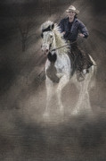 Wild Horses Prints - Cowgirl and Knight Print by Susan Candelario