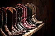 Rack Framed Prints - Cowgirl Boots Collection Framed Print by Olivier Le Queinec