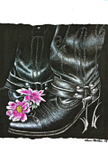 Western Themed Drawings - Cowgirl Boots by Sheena Bolken