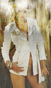 Babe Mixed Media Framed Prints - Cowgirl Fashion Framed Print by Michael Knight