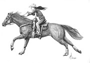Western Pencil Drawing Framed Prints - Cowgirl full out Framed Print by Murphy Elliott