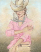 Chin Up Paintings - Cowgirl by Judith Grzimek