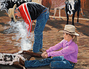 Tim Paintings - Cowgirls Do It Too by Timithy L Gordon