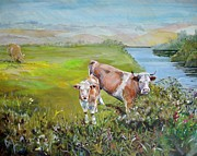 Mike Jory Cow Posters - Cows by river Poster by Mike Jory