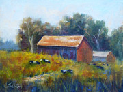 Sonoma County Painting Prints - Cows by the Barn Print by Carolyn Jarvis