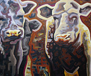Abstracted Landscape Paintings - Cows by Dale Beckman
