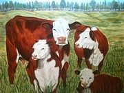 Pasture Painting Posters - Cows Four Poster by Lee Halbrook