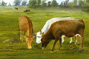Pasture Painting Posters - Cows Gossip Session in Louisiana Pasture Poster by Lenora  De Lude