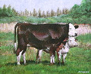 Dairy Farming Posters - Cows In Field Demo Small Painting Poster by Martin Davey