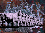 Warp Digital Art Prints - Cows In Order 2 Print by Jack Zulli