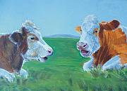 Bulls Drawings Originals - Cows lying down chatting by Mike Jory