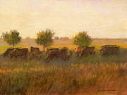 Pasture Scenes Painting Framed Prints - Cows1 Framed Print by J Reifsnyder