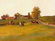 Pasture Scenes Painting Framed Prints - Cows2 Framed Print by J Reifsnyder