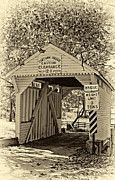 Pennsylvania Framed Prints - Cox Farm Bridge sepia Framed Print by Steve Harrington