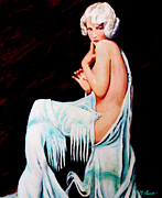 Pin Up Girl Paintings - Coy by Michael Durst