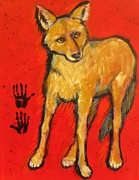Coyote Art Paintings - Coyote and Hand Prints by Carol Suzanne Niebuhr