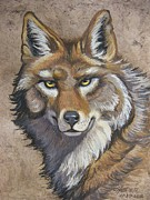 Amate Bark Paper Prints - Coyote Print by Anne Shoemaker-Magdaleno