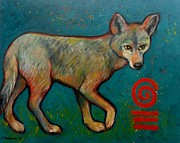 Brush Wolf Posters - Coyote of the Symbol Poster by Carol Suzanne Niebuhr