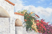 Brick Wall Pastels Prints - Cozumel Color Print by Angela Bruskotter
