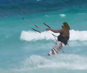 Kite Boarding Art - Cozumel Kiting by Carol McCutcheon
