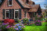 Purple Hydrangea Photos - Cozy Corner. Giethoorn. Netherlands by Jenny Rainbow