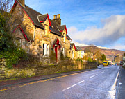 Picturesque Digital Art Posters - Cozy Cottage In A Scottish Village Poster by Mark E Tisdale