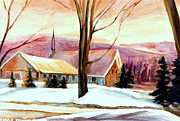 Laurentians Paintings - Cozy Country Churches Laurentians Winter Scene Northern Quebec by Carole Spandau