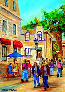 Outdoor Cafes Posters - Cozy Dinner Under Blue Umbrella Summer Stroll Prince Arthur Montreal Paintings Carole Spandau Poster by Carole Spandau