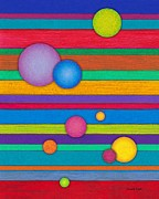 Colored Pencil Prints - CP003 Stripes and Circles Print by David K Small