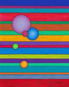 Colored Pencil Metal Prints - CP003 Stripes with Circles Metal Print by David K Small