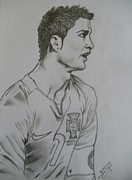 Soccer Drawings Originals - Cr7 by Bodhisatwa Mitra