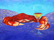 Chardonnay Wine Paintings - Crab and Chardonnay by Nancy Jolley