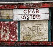 Old Digital Art Posters - Crab and Oysters Poster by Carol Leigh