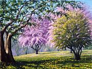 Tree Blossoms Paintings - Crab Apple Trees by Rick Hansen