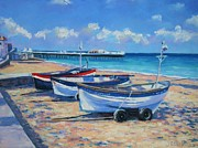 New England Pastels Posters - Crab Boats on Cromer Beach Poster by John Clark