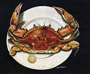 Louisiana Seafood Art - Crab  on Plate by Phyllis Beiser